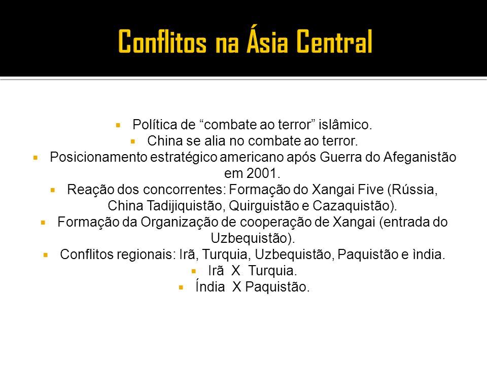 Política de combate ao terror islâmico. China se alia no combate ao terror. Posicionamento estratégico americano após Guerra do Afeganistão em 2001. R