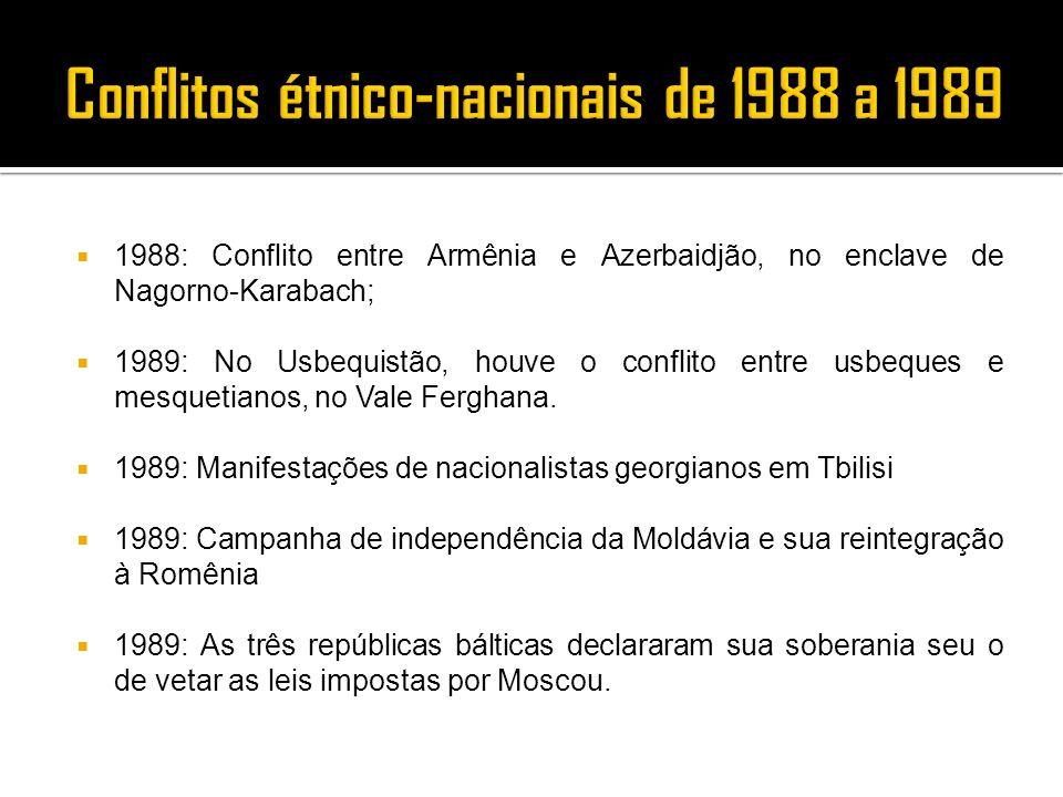 1988: Conflito entre Armênia e Azerbaidjão, no enclave de Nagorno-Karabach; 1989: No Usbequistão, houve o conflito entre usbeques e mesquetianos, no V