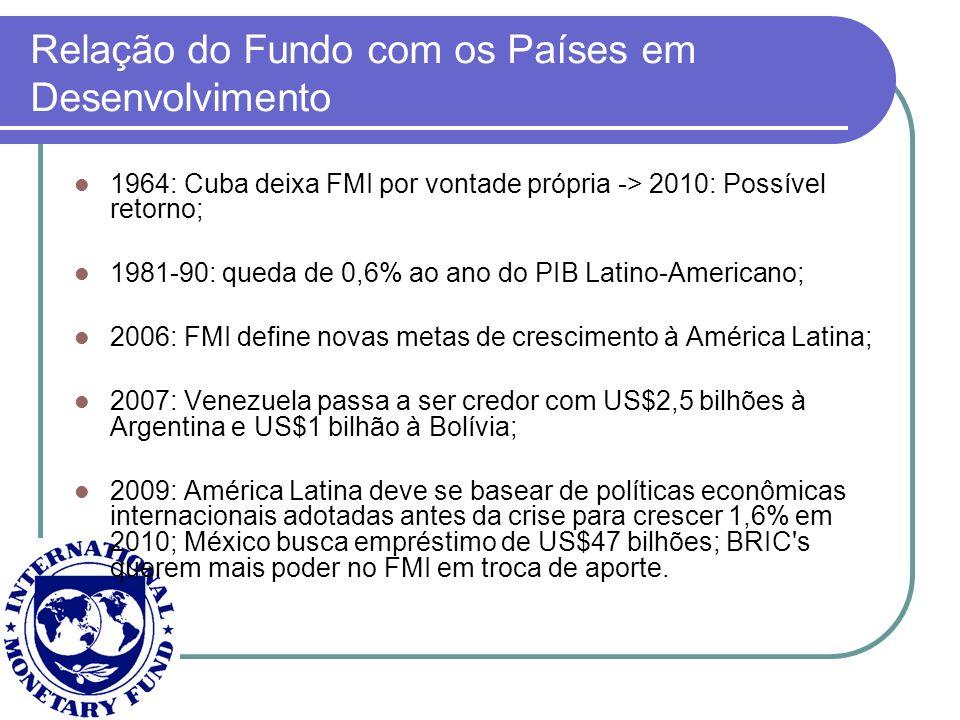 Relação do Fundo com os Países em Desenvolvimento 1964: Cuba deixa FMI por vontade própria -> 2010: Possível retorno; 1981-90: queda de 0,6% ao ano do
