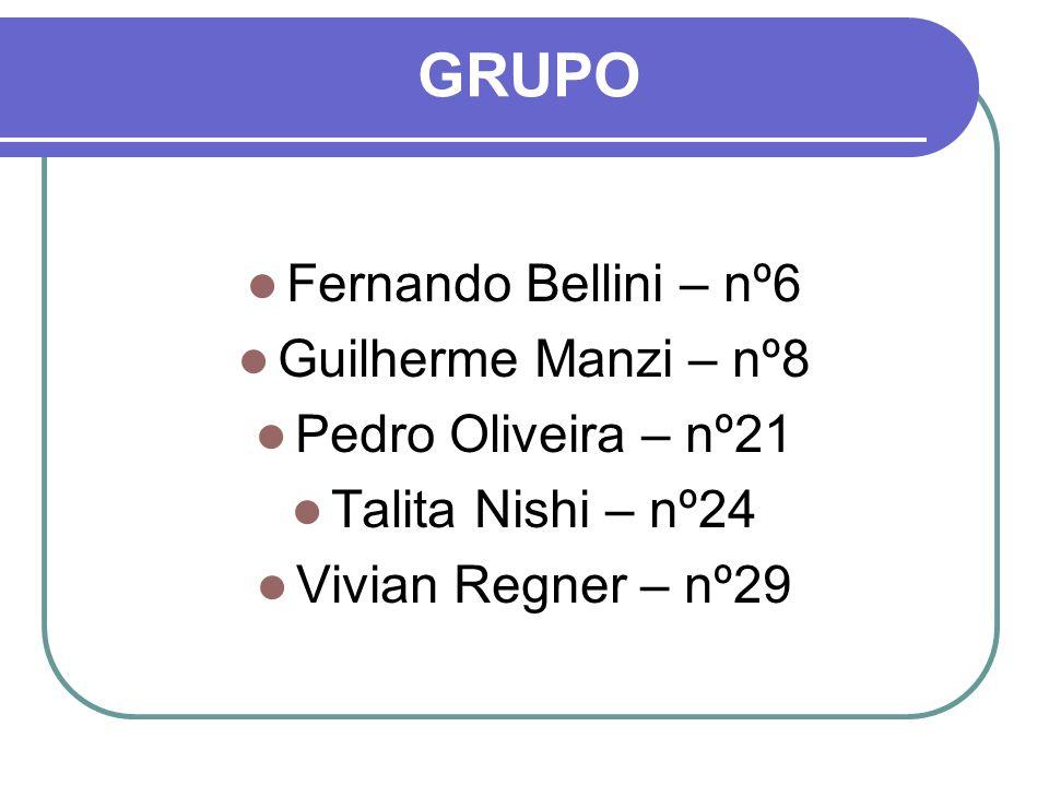 GRUPO Fernando Bellini – nº6 Guilherme Manzi – nº8 Pedro Oliveira – nº21 Talita Nishi – nº24 Vivian Regner – nº29