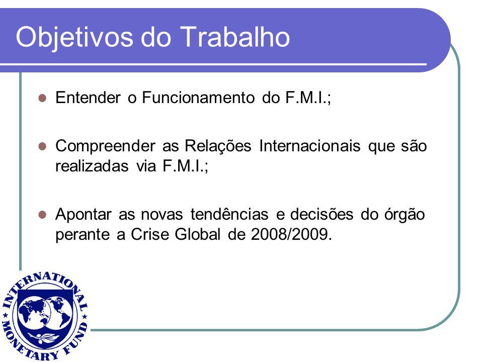 Objetivos do Trabalho Entender o Funcionamento do F.M.I.; Compreender as Relações Internacionais que são realizadas via F.M.I.; Apontar as novas tendê