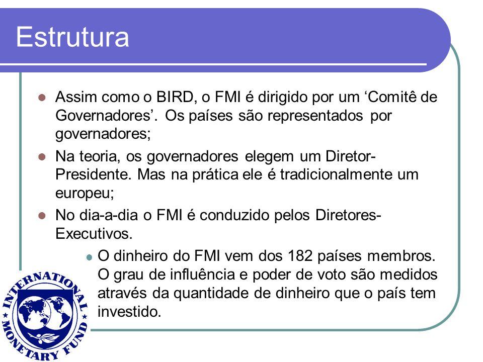 Estrutura Assim como o BIRD, o FMI é dirigido por um Comitê de Governadores. Os países são representados por governadores; Na teoria, os governadores