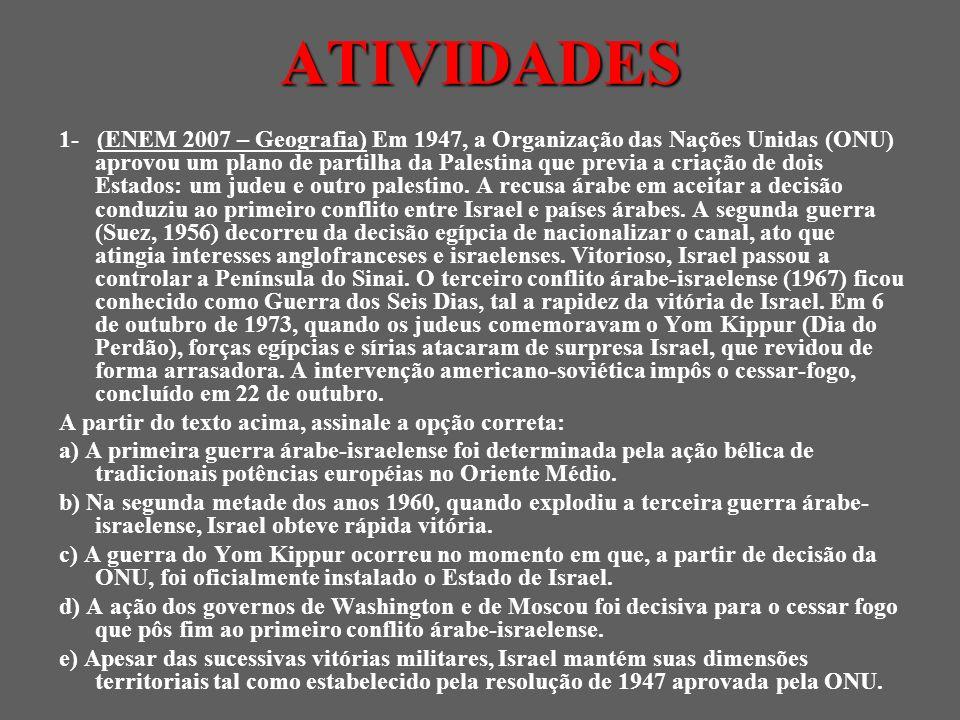 ATIVIDADES 1- (ENEM 2007 – Geografia) Em 1947, a Organização das Nações Unidas (ONU) aprovou um plano de partilha da Palestina que previa a criação de