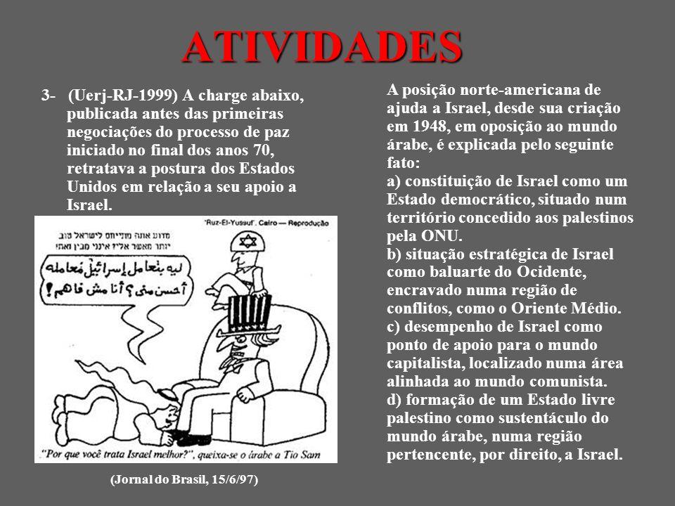 3- (Uerj-RJ-1999) A charge abaixo, publicada antes das primeiras negociações do processo de paz iniciado no final dos anos 70, retratava a postura dos