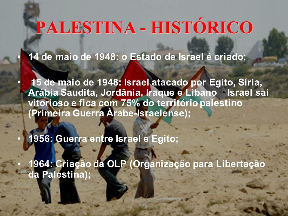PALESTINA - HISTÓRICO 14 de maio de 1948: o Estado de Israel é criado; 15 de maio de 1948: Israel atacado por Egito, Síria, Arábia Saudita, Jordânia,