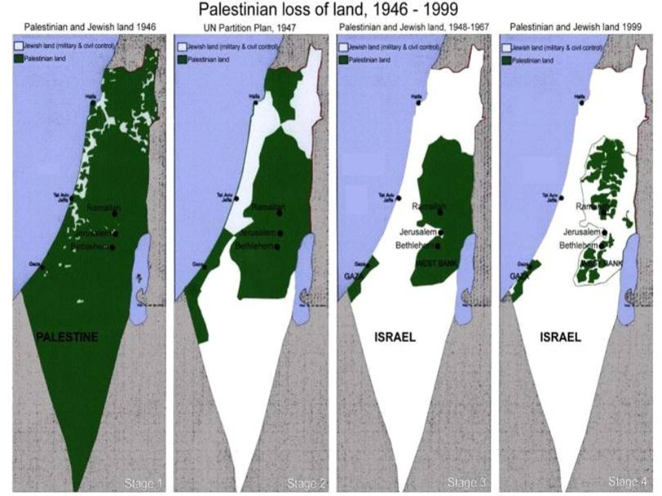 PALESTINA - HISTÓRICO 1967: Guerra dos Seis Dias; (Mapa mostrando as conquistas de Israel na Guerra) 1970: Setembro Negro; 1973: Guerra do Yom Kippur - Estratégia da OPEP; 1979: Egito reconhece Israel como Estado; 1982: Israel invade a Líbia; 1985: Formação do Hezbollah; 1987 - 1992: Intifada – Resoluções da ONU a favor dos palestinos: não respeitadas ou vetadas pelos EUA;