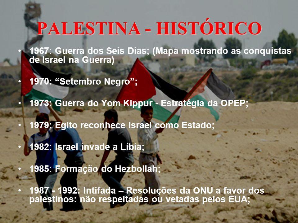 PALESTINA - HISTÓRICO 1993: Bill Clinton, Yasser Arafat e Yitzhak Rabin Acordo para criação da Autoridade Nacional Palestina; 1996: Processo de pacificação interrompido pelo novo Primeiro-Ministro Israelense: Binyamin Netanyahu; 2000: Israel enfraquecido politicamente – Ariel Sharon assume o poder inimigo dos palestinos – Início de uma nova Intifada; 2001: Agrava-se o ciclo de violência – Israel mantém uma posição inflexível.