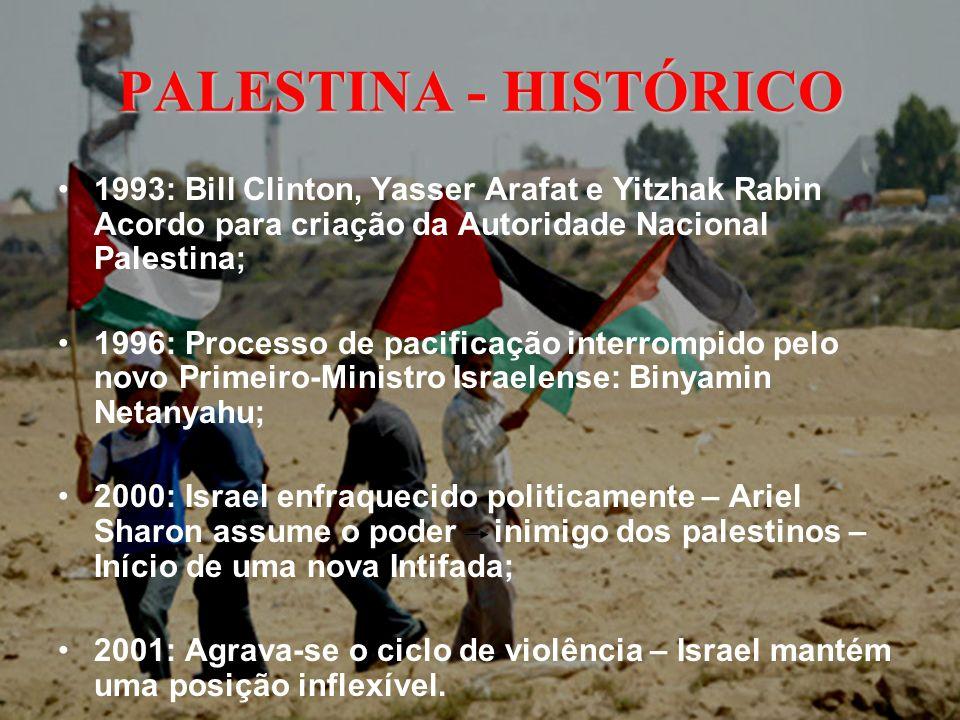 PALESTINA - HISTÓRICO 1993: Bill Clinton, Yasser Arafat e Yitzhak Rabin Acordo para criação da Autoridade Nacional Palestina; 1996: Processo de pacifi