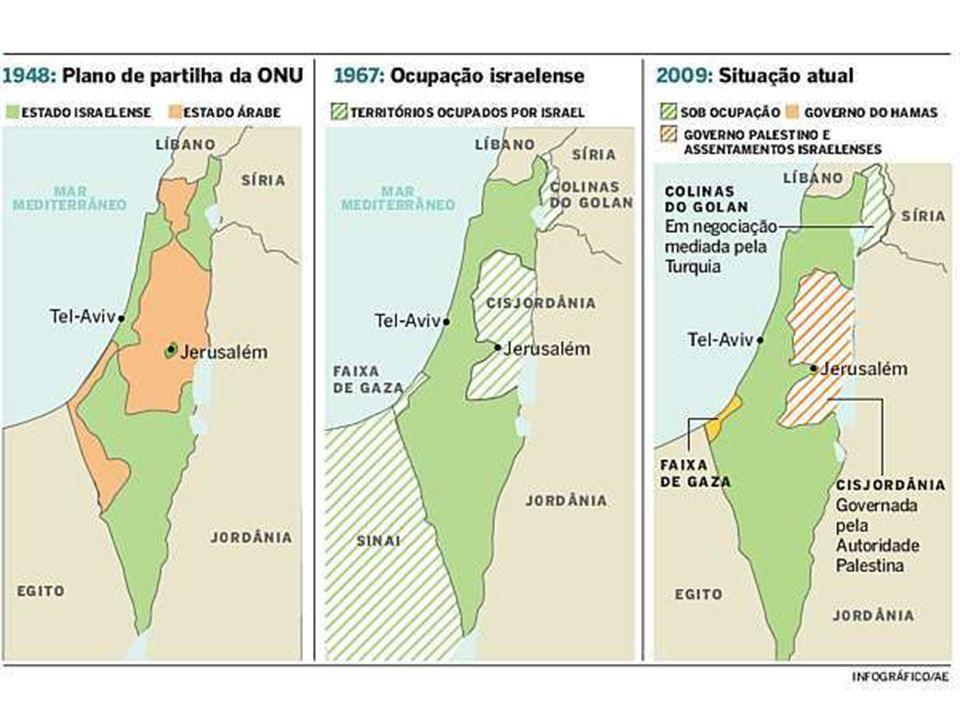 ATIVIDADES 1- (ENEM 2007 – Geografia) Em 1947, a Organização das Nações Unidas (ONU) aprovou um plano de partilha da Palestina que previa a criação de dois Estados: um judeu e outro palestino.