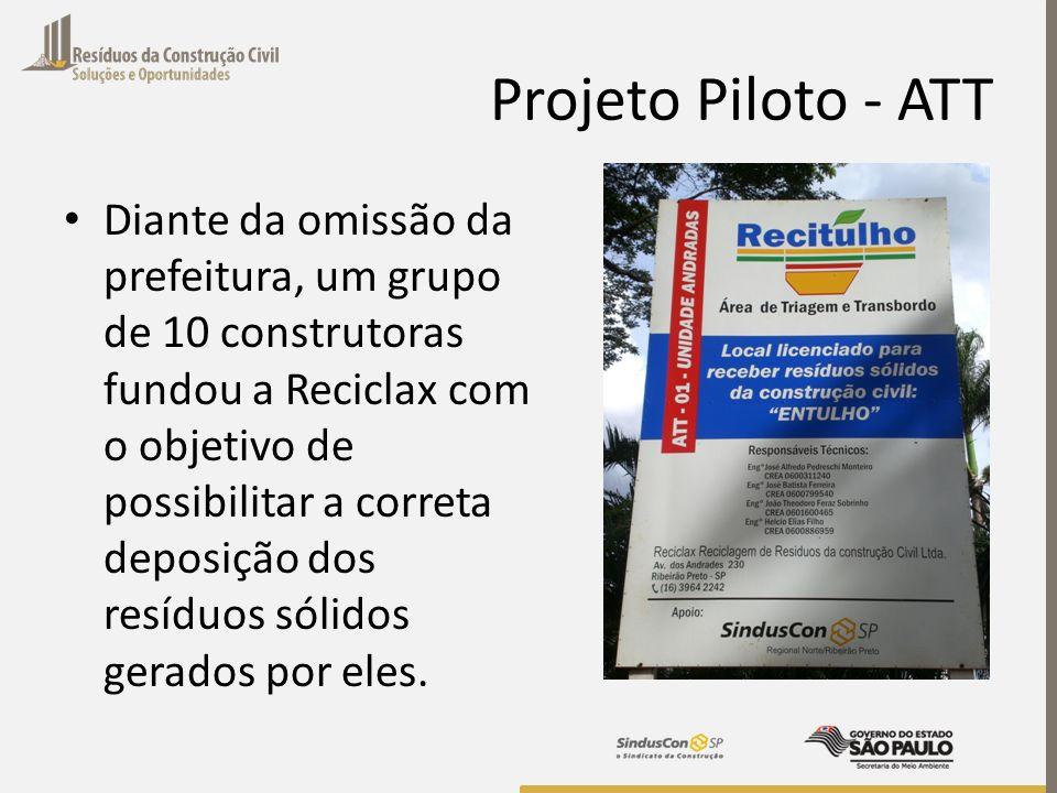 Projeto Piloto - ATT Diante da omissão da prefeitura, um grupo de 10 construtoras fundou a Reciclax com o objetivo de possibilitar a correta deposição