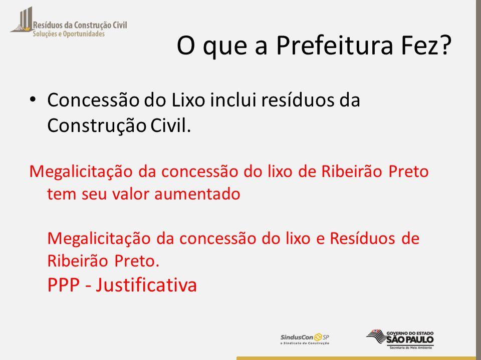 O que a Prefeitura Fez? Concessão do Lixo inclui resíduos da Construção Civil. Megalicitação da concessão do lixo de Ribeirão Preto tem seu valor aume