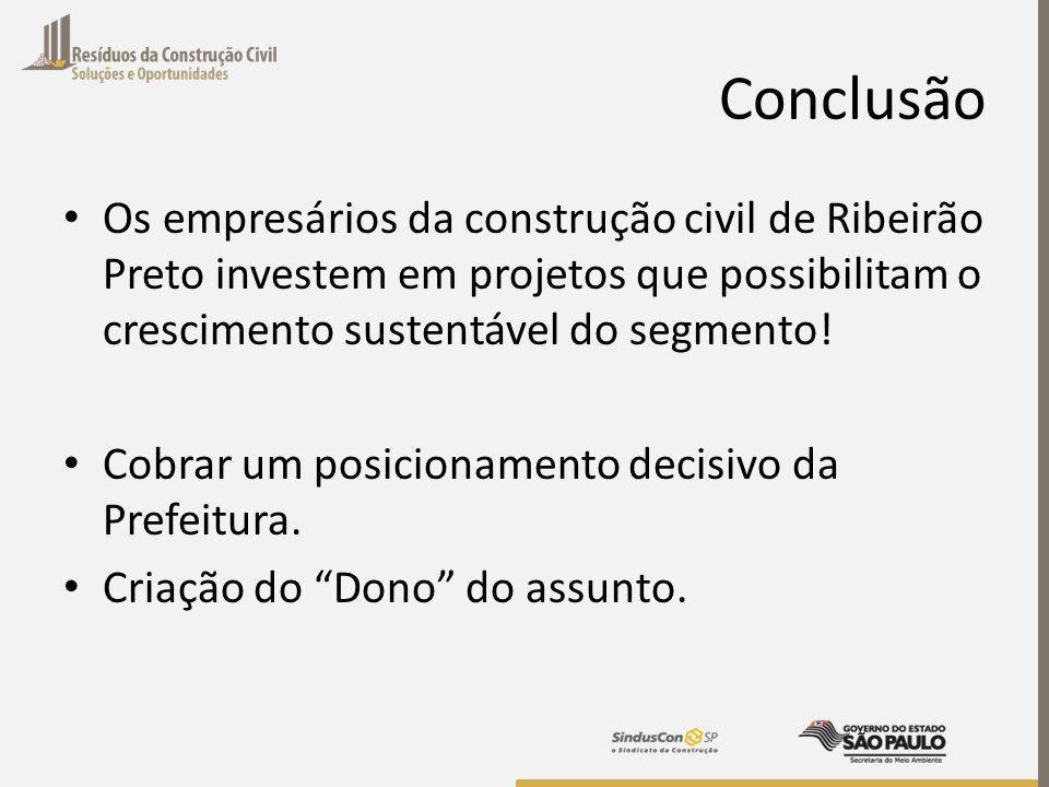 Conclusão Os empresários da construção civil de Ribeirão Preto investem em projetos que possibilitam o crescimento sustentável do segmento! Cobrar um