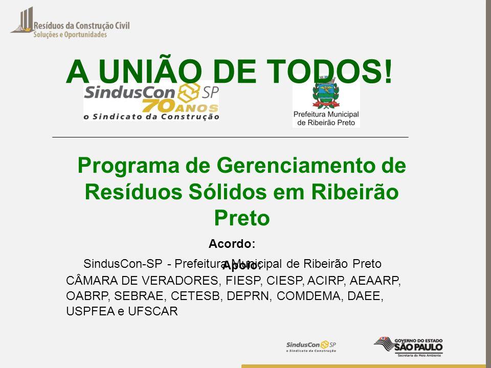 Programa de Gerenciamento de Resíduos Sólidos em Ribeirão Preto Acordo: SindusCon-SP - Prefeitura Municipal de Ribeirão Preto A UNIÃO DE TODOS! Apoio: