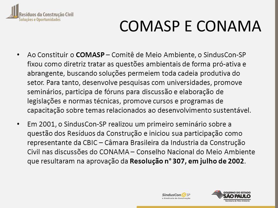 COMASP E CONAMA Ao Constituir o COMASP – Comitê de Meio Ambiente, o SindusCon-SP fixou como diretriz tratar as questões ambientais de forma pró-ativa