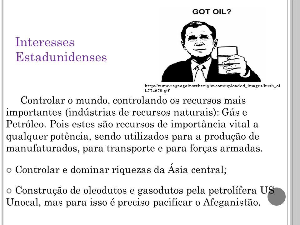 Interesses Estadunidenses Controlar o mundo, controlando os recursos mais importantes (indústrias de recursos naturais): Gás e Petróleo.