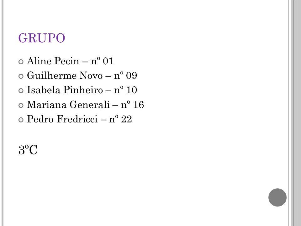 GRUPO Aline Pecin – nº 01 Guilherme Novo – nº 09 Isabela Pinheiro – nº 10 Mariana Generali – nº 16 Pedro Fredricci – nº 22 3ºC