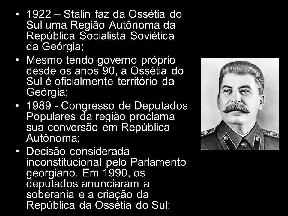 1922 – Stalin faz da Ossétia do Sul uma Região Autônoma da República Socialista Soviética da Geórgia; Mesmo tendo governo próprio desde os anos 90, a