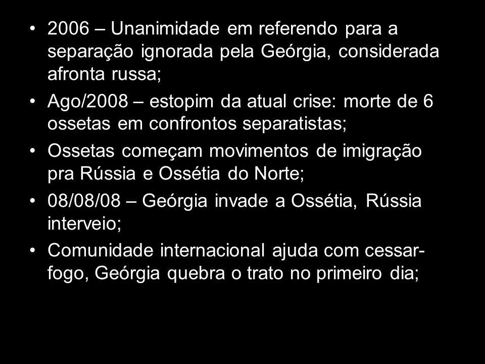 2006 – Unanimidade em referendo para a separação ignorada pela Geórgia, considerada afronta russa; Ago/2008 – estopim da atual crise: morte de 6 osset