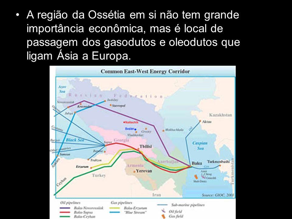 A região da Ossétia em si não tem grande importância econômica, mas é local de passagem dos gasodutos e oleodutos que ligam Ásia a Europa.