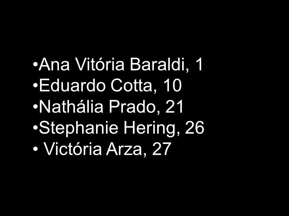 Ana Vitória Baraldi, 1 Eduardo Cotta, 10 Nathália Prado, 21 Stephanie Hering, 26 Victória Arza, 27