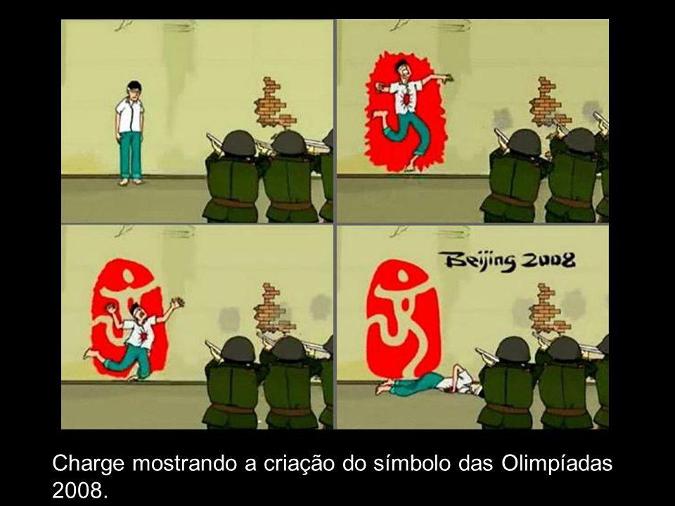Charge mostrando a criação do símbolo das Olimpíadas 2008.