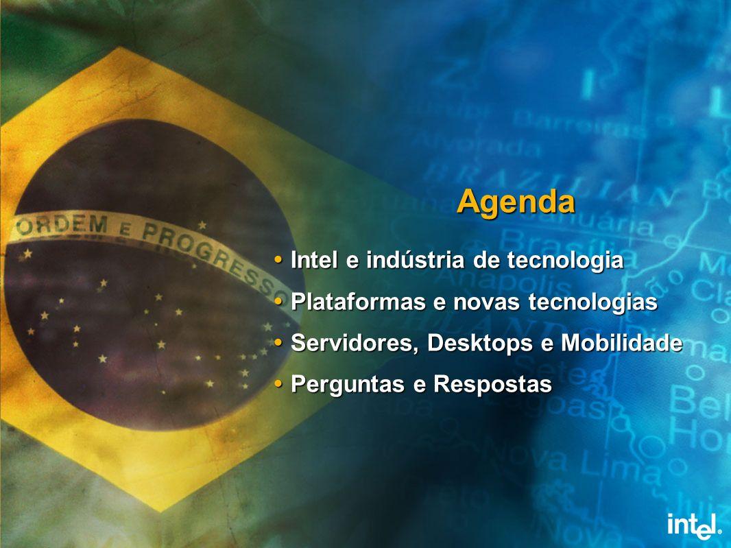 Intel e a Indústria de Tecnologia SOLUÇÕES Intel Capital INTELSOFTWARECOLLEGE CHIPSETS Placas, Servidores e Sistemas Atuação no OSDL Ferramentas de Software Alianças com ISVs / SIs Padrões de Indústria