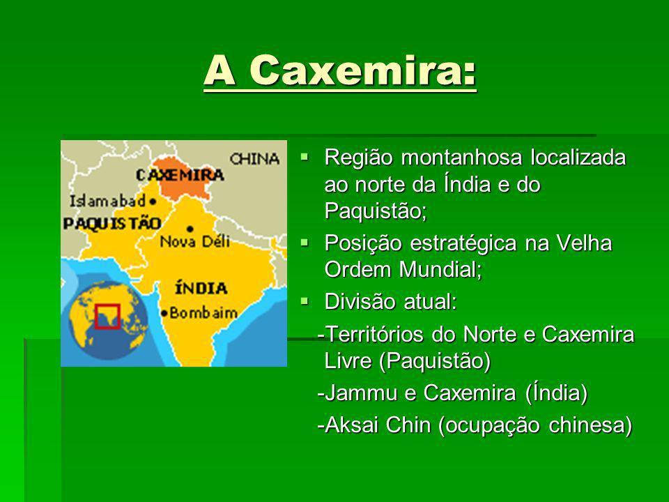 A Caxemira: Região montanhosa localizada ao norte da Índia e do Paquistão; Região montanhosa localizada ao norte da Índia e do Paquistão; Posição estr