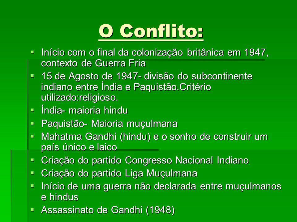 O Conflito: Início com o final da colonização britânica em 1947, contexto de Guerra Fria Início com o final da colonização britânica em 1947, contexto