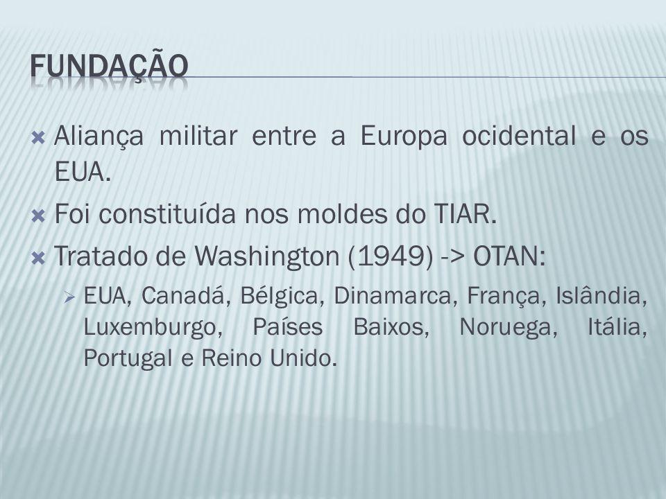 Aliança militar entre a Europa ocidental e os EUA. Foi constituída nos moldes do TIAR. Tratado de Washington (1949) -> OTAN: EUA, Canadá, Bélgica, Din