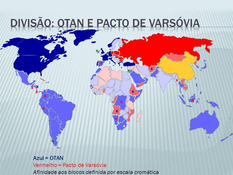 Azul = OTAN Vermelho = Pacto de Varsóvia Afinidade aos blocos definida por escala cromática