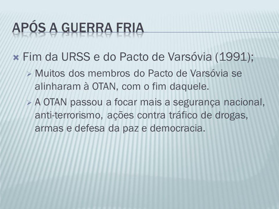 Fim da URSS e do Pacto de Varsóvia (1991); Muitos dos membros do Pacto de Varsóvia se alinharam à OTAN, com o fim daquele. A OTAN passou a focar mais