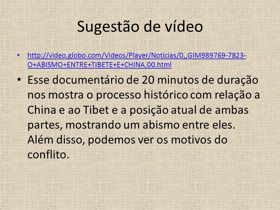 Sugestão de vídeo http://video.globo.com/Videos/Player/Noticias/0,,GIM989769-7823- O+ABISMO+ENTRE+TIBETE+E+CHINA,00.html http://video.globo.com/Videos