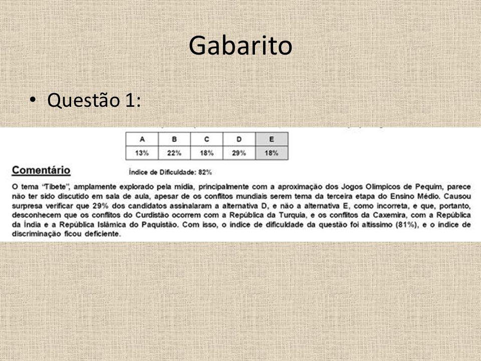 Gabarito Questão 1: