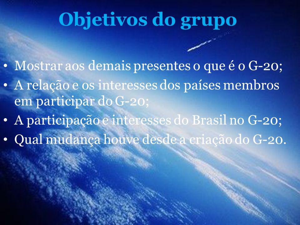 Objetivos do grupo Mostrar aos demais presentes o que é o G-20; A relação e os interesses dos países membros em participar do G-20; A participação e i