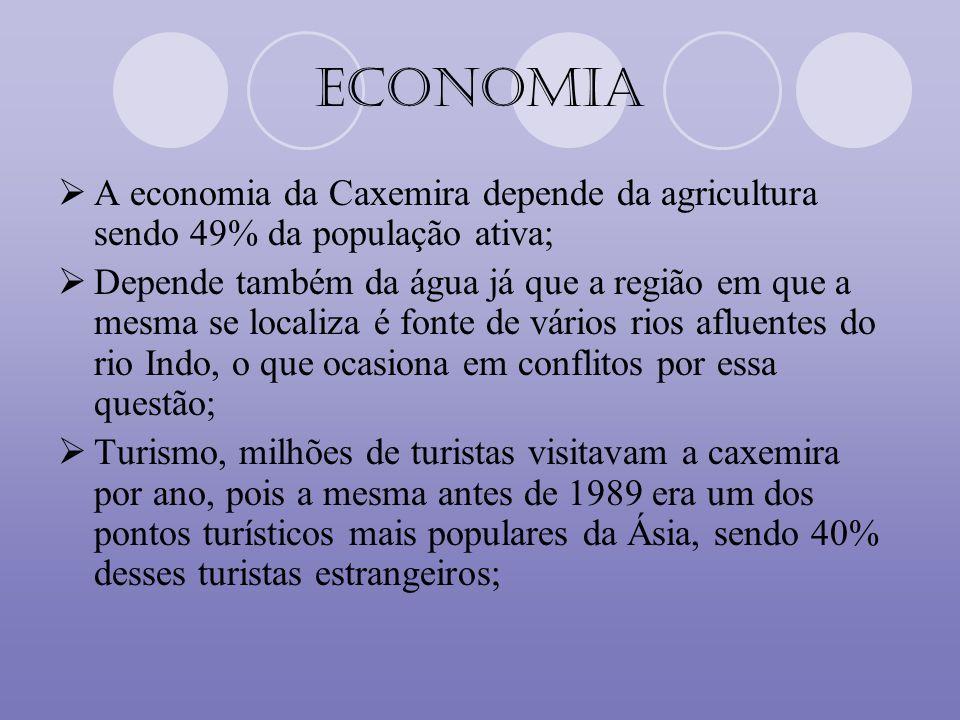 Economia A economia da Caxemira depende da agricultura sendo 49% da população ativa; Depende também da água já que a região em que a mesma se localiza