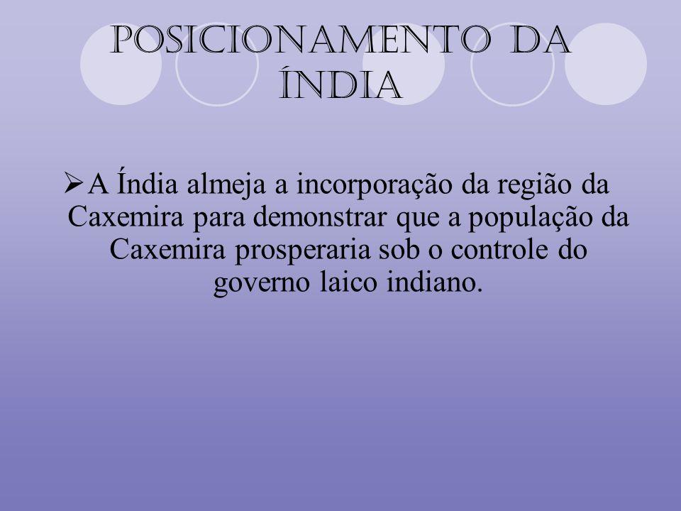Posicionamento da Índia A Índia almeja a incorporação da região da Caxemira para demonstrar que a população da Caxemira prosperaria sob o controle do