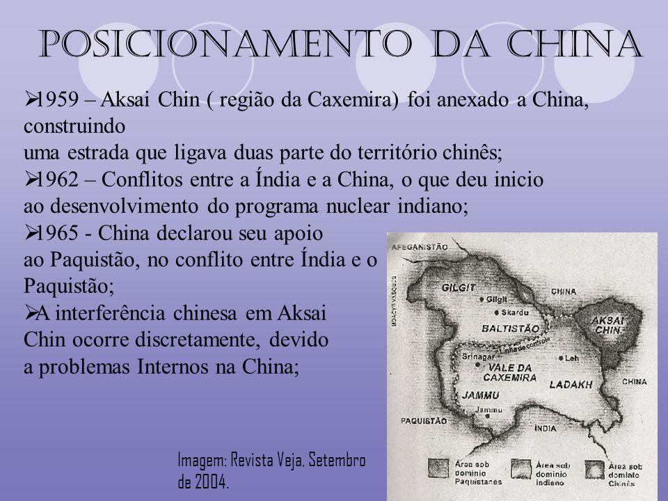 1959 – Aksai Chin ( região da Caxemira) foi anexado a China, construindo uma estrada que ligava duas parte do território chinês; 1962 – Conflitos entr