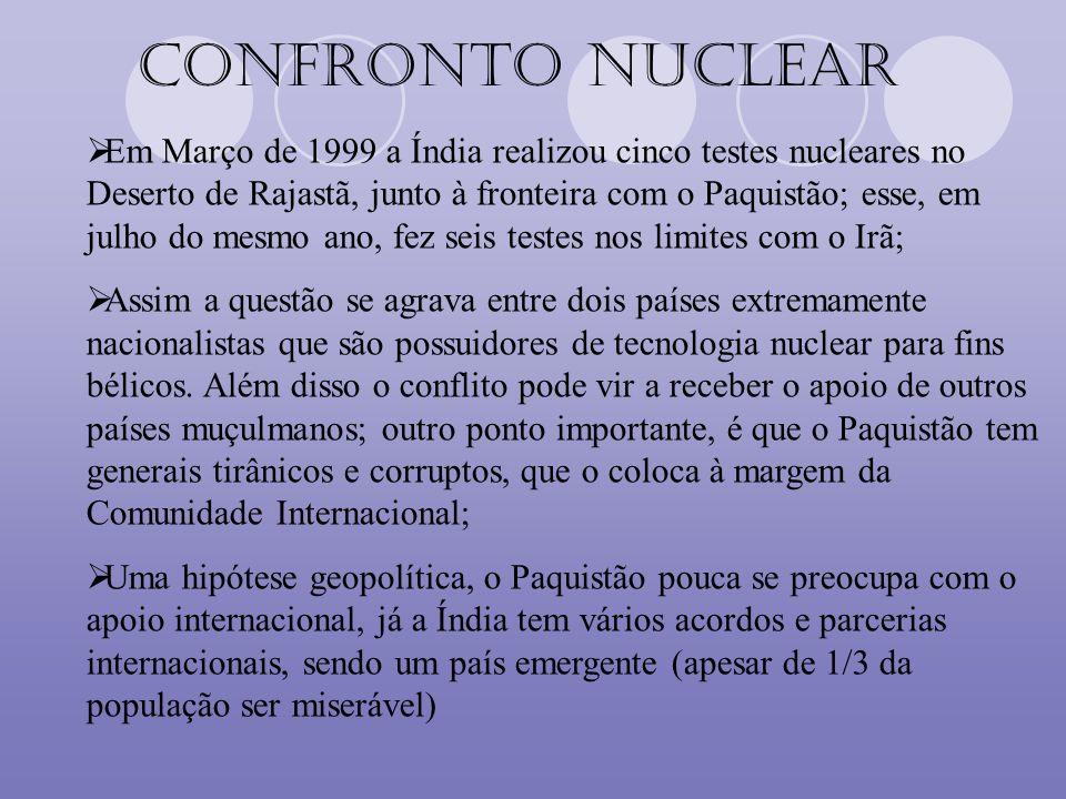 Confronto Nuclear Em Março de 1999 a Índia realizou cinco testes nucleares no Deserto de Rajastã, junto à fronteira com o Paquistão; esse, em julho do
