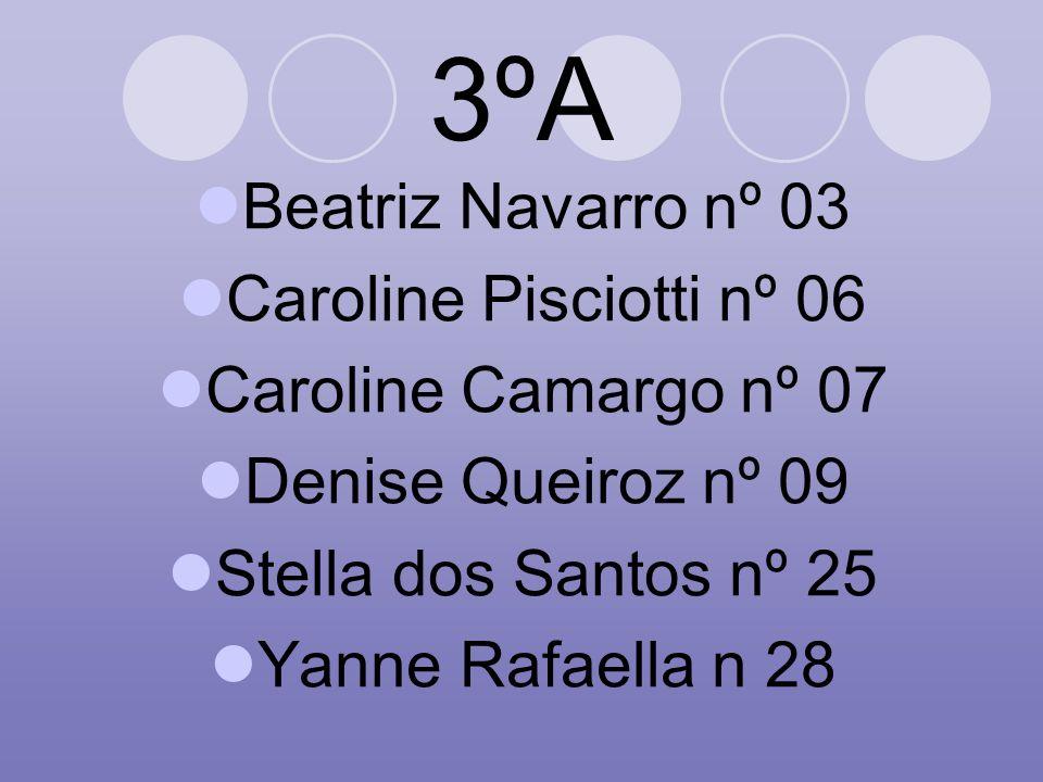 3ºA Beatriz Navarro nº 03 Caroline Pisciotti nº 06 Caroline Camargo nº 07 Denise Queiroz nº 09 Stella dos Santos nº 25 Yanne Rafaella n 28