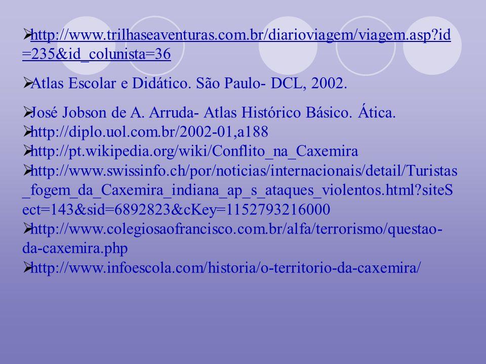 http://www.trilhaseaventuras.com.br/diarioviagem/viagem.asp?id =235&id_colunista=36 Atlas Escolar e Didático. São Paulo- DCL, 2002. José Jobson de A.
