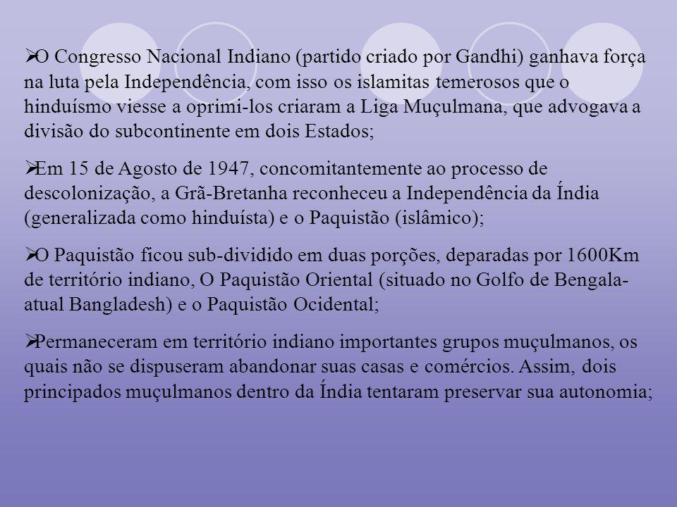 O Congresso Nacional Indiano (partido criado por Gandhi) ganhava força na luta pela Independência, com isso os islamitas temerosos que o hinduísmo vie