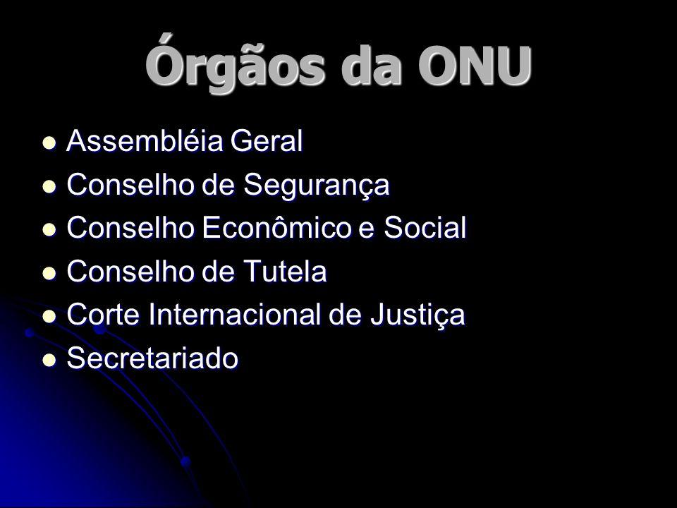 Órgãos da ONU Assembléia Geral Assembléia Geral Conselho de Segurança Conselho de Segurança Conselho Econômico e Social Conselho Econômico e Social Co