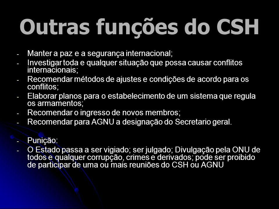 Outras funções do CSH - - Manter a paz e a segurança internacional; - - Investigar toda e qualquer situação que possa causar conflitos internacionais;
