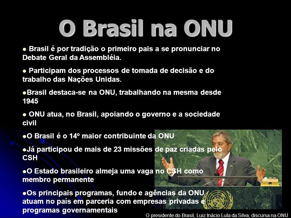 O Brasil na ONU O presidente do Brasil, Luiz Inácio Lula da Silva, discursa na ONU Brasil é por tradição o primeiro pais a se pronunciar no Debate Ger