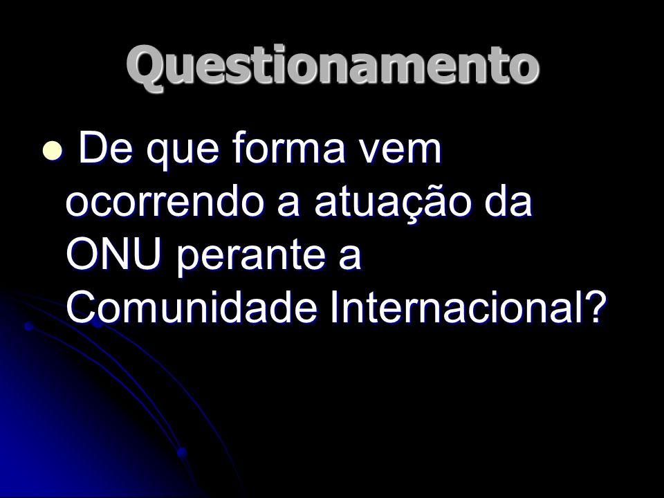 Questionamento De que forma vem ocorrendo a atuação da ONU perante a Comunidade Internacional? De que forma vem ocorrendo a atuação da ONU perante a C