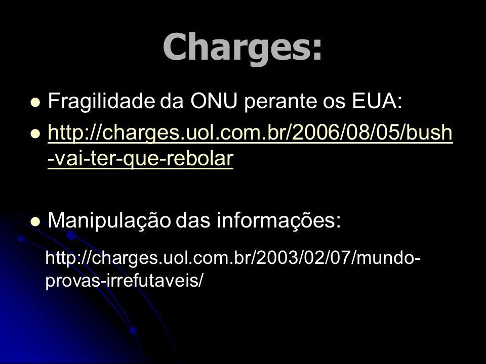 Charges: Fragilidade da ONU perante os EUA: http://charges.uol.com.br/2006/08/05/bush -vai-ter-que-rebolar http://charges.uol.com.br/2006/08/05/bush -