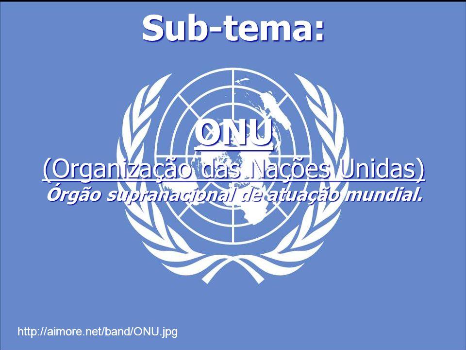 Sub-tema: ONU (Organização das Nações Unidas) Órgão supranacional de atuação mundial. http://aimore.net/band/ONU.jpg