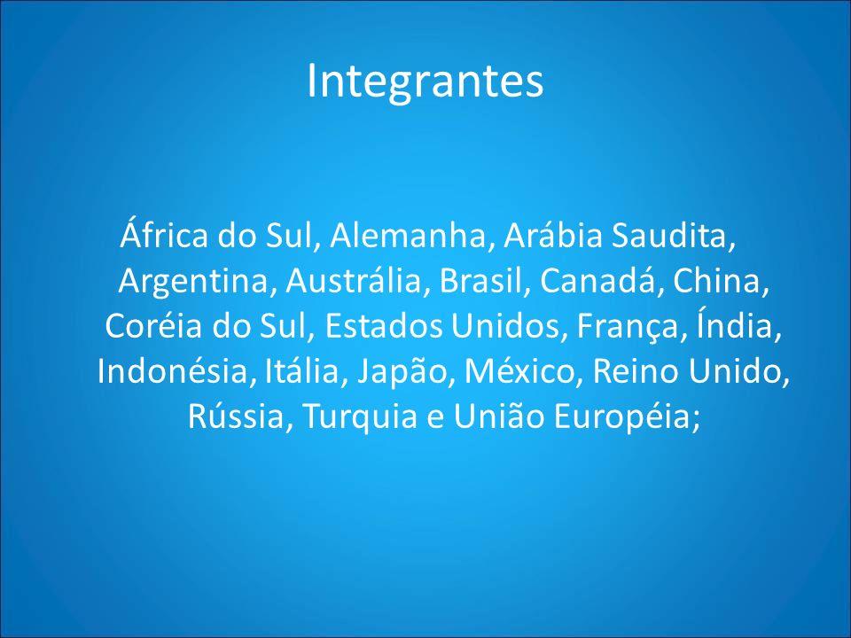 Integrantes África do Sul, Alemanha, Arábia Saudita, Argentina, Austrália, Brasil, Canadá, China, Coréia do Sul, Estados Unidos, França, Índia, Indoné