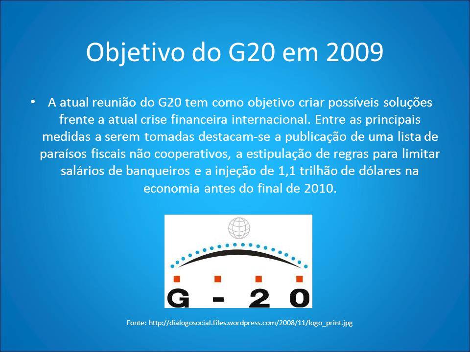 Objetivo do G20 em 2009 A atual reunião do G20 tem como objetivo criar possíveis soluções frente a atual crise financeira internacional. Entre as prin