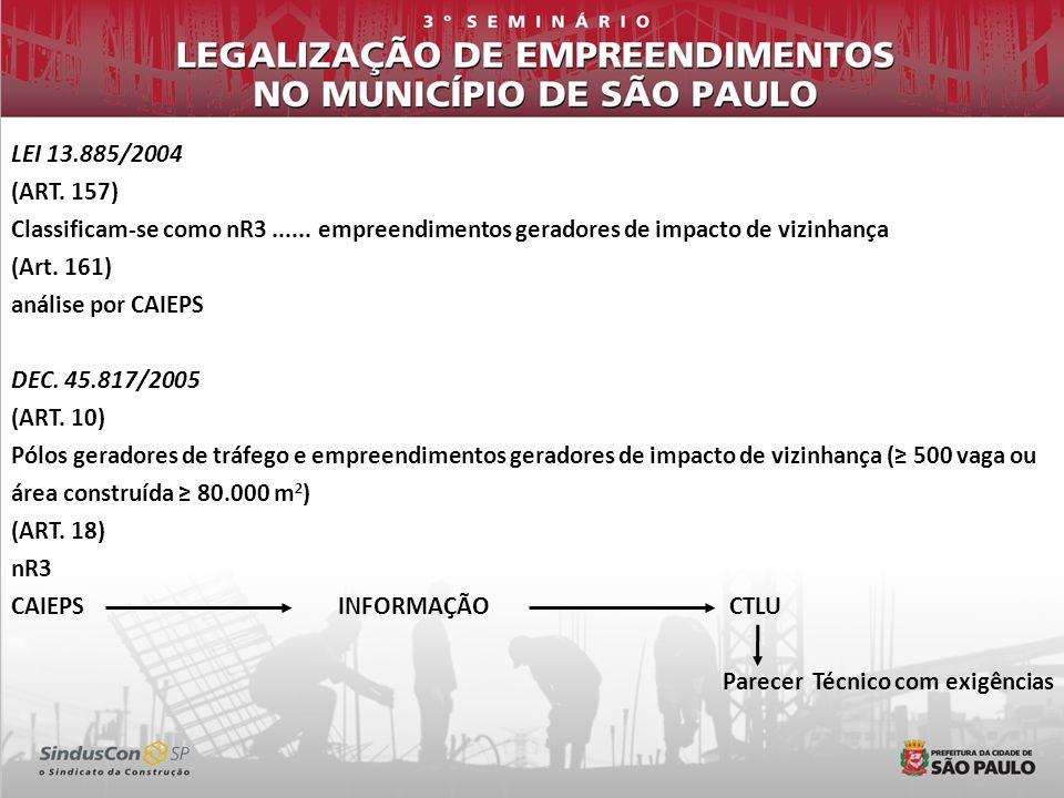 LEI 13.885/2004 (ART. 157) Classificam-se como nR3...... empreendimentos geradores de impacto de vizinhança (Art. 161) análise por CAIEPS DEC. 45.817/